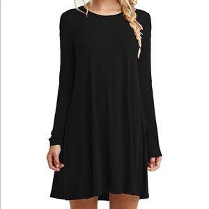 Dresses & Skirts - Black Plain Long Sleeve Flowy Dress